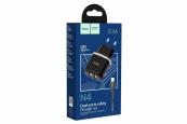 USB lader van 2.4A Zwart incl. USB-C 3.1 kabel