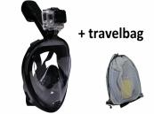 Snorkelmasker met GoPro bevestiging   Zwart   S/M