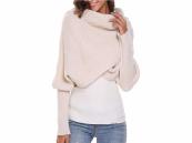 Grote beige sjaal met mouwen, extreem zachte omslagdoek