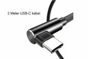 Male USB A 2.0 naar Male USB C Oplaadkabel extra sterk